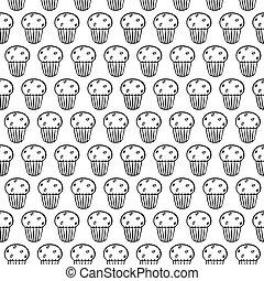 csinos, cupcakes, lineáris, egyszerű, pattern., seamless, book., háttér., színezés, fehér, karikatúra