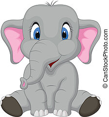 csinos, elefánt, karikatúra, ülés