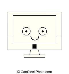 csinos, ellenző, számítógép, fekete, fehér, karikatúra