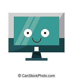 csinos, ellenző, számítógép, karikatúra