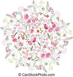 csinos, eredet, nyalábok, sablon, tulipánok, virágos