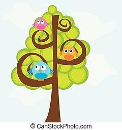 csinos, fa, felett, ég, madarak, vektor, háttér, karikatúra