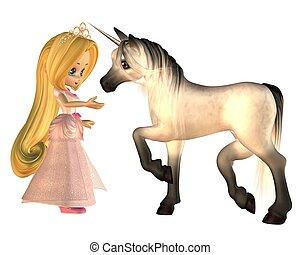 csinos, fairytale, hercegnő, és, egyszarvú
