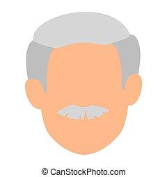 csinos, fej, betű, avatar, nagyapa