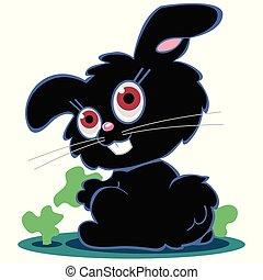 csinos, fekete, karikatúra, üregi nyúl, nyuszi