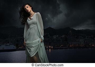 csinos, felett, barna nő, háttér, város