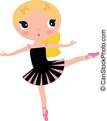 csinos, feltevő, gyönyörű, fekete, balerina, leány