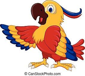 csinos, feltevő, karikatúra, papagáj