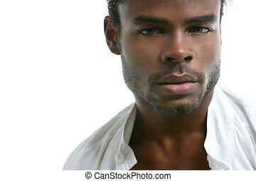 csinos, fiatal, amerikai, fekete, afrikai, portré, ember