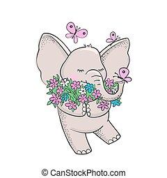 csinos, flowers., elefánt, húzott, kéz