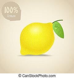 csinos, friss, citrom, ábra