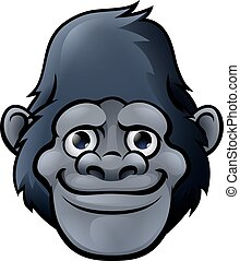 csinos, gorilla, karikatúra, arc