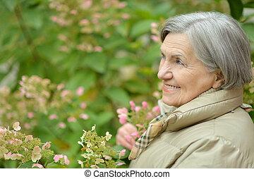 csinos, gyalogló, nő, liget, öregedő