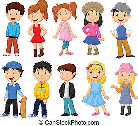 csinos, gyerekek, gyűjtés, karikatúra