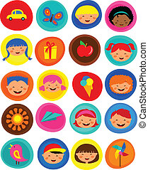 csinos, gyerekek, motívum, ikonok, ábra, vektor