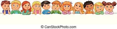 csinos, gyerekek, transzparens, boldog, tiszta
