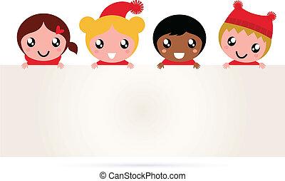 csinos, gyerekek, transzparens, karácsony, multicultural