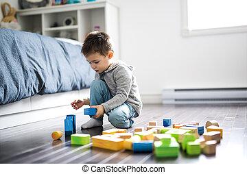 csinos, gyermekek játék, noha, szín, játékszer, szobai
