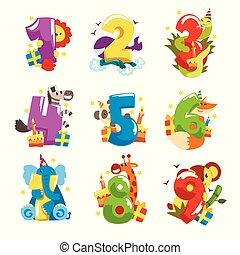 csinos, háttér, zsiráf, számok, zebra, furcsa, koala, állhatatos, évforduló, állat, ábra, fehér, boldog, betűk, elefánt, kígyó, panda, róka, oroszlán, vektor, születésnap, bálna