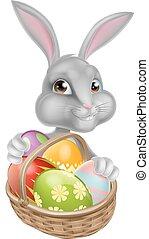 csinos, húsvét, karikatúra, nyuszi