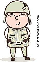 csinos, hadsereg, ábra, arc, vektor, mosoly, ember