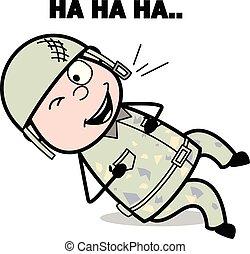 csinos, hadsereg, móka, -, ábra, katona, vektor, nevető, karikatúra, ember