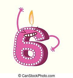 csinos, hat, betű, szám, születésnap, vektor, gyertya