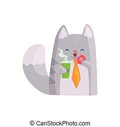 csinos, kávécserje, fánk, csésze, betű, macska, furcsa, vektor, állat, birtok, üzletember, illustratio, karikatúra