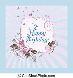 csinos, kék, születésnap, rózsaszínű, boldog