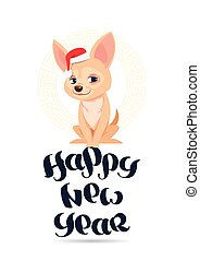 csinos, , köszönés, kutya, 2018, szent, év, új, kalap, kártya, boldog