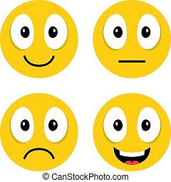 csinos, különböző, boldog, emoticons., emoji., set., modern, bús, ábra, emoji, vektor, nevető, arc, pártatlan, karikatúra, emotions.
