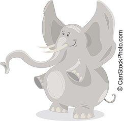 csinos, karikatúra, ábra, elefántok