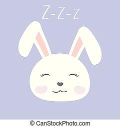 csinos, karikatúra, arc, nyuszi, alvás