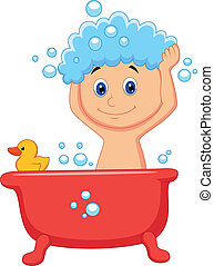csinos, karikatúra, fiú, birtoklás, fürdőkád