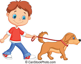 csinos, karikatúra, fiú, gyalogló, noha, kutya