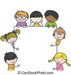 csinos, karikatúra, gyerekek, keret