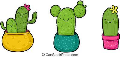 csinos, karikatúra, kaktusz