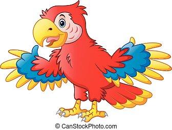 csinos, karikatúra, papagáj