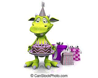 csinos, karikatúra, szörny, birtok, születésnap, cake.