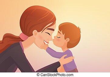 csinos, kevés, övé, illustration., fiú, megcsókol, vektor, anya, karikatúra, boldog