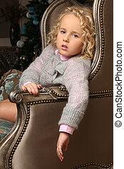 csinos, kevés, ülés, felett, főrend, fegyver, szőke, leány, szék