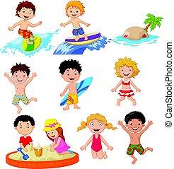 csinos, kevés, gyerekek, tengerpart, játék