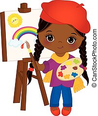 csinos, kevés, művész, zihálás, amerikai, vektor, afrikai, easel., leány