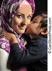 csinos, kevés, nő, muzulmán, fiatal, kölyök