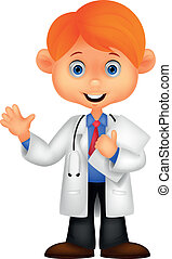 csinos, kevés, orvos, wav, hím, karikatúra