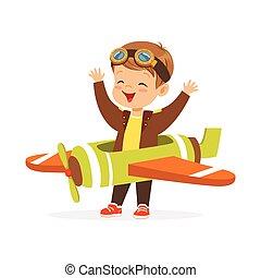 csinos, kicsi fiú, alatt, pilóta, jelmez, játék, apró sima, kölyök, ábrándozás, közül, irányít, a, repülőgép, vektor, ábra