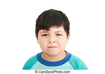 csinos, kicsi fiú, feláll, háttér, becsuk, portré