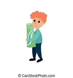 csinos, kicsi fiú, fogkrém, betű, óriási, ábra, vektor, birtok, karikatúra