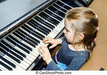 csinos, kicsi lány, játék, hangversenyzongora