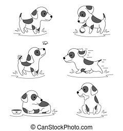 csinos, kutyus, kutya, szórakozottan firkálgat, vektor, betű